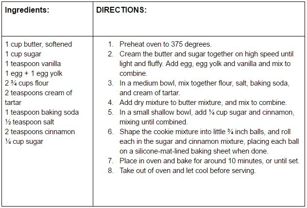snickerdoodles recipe card picture