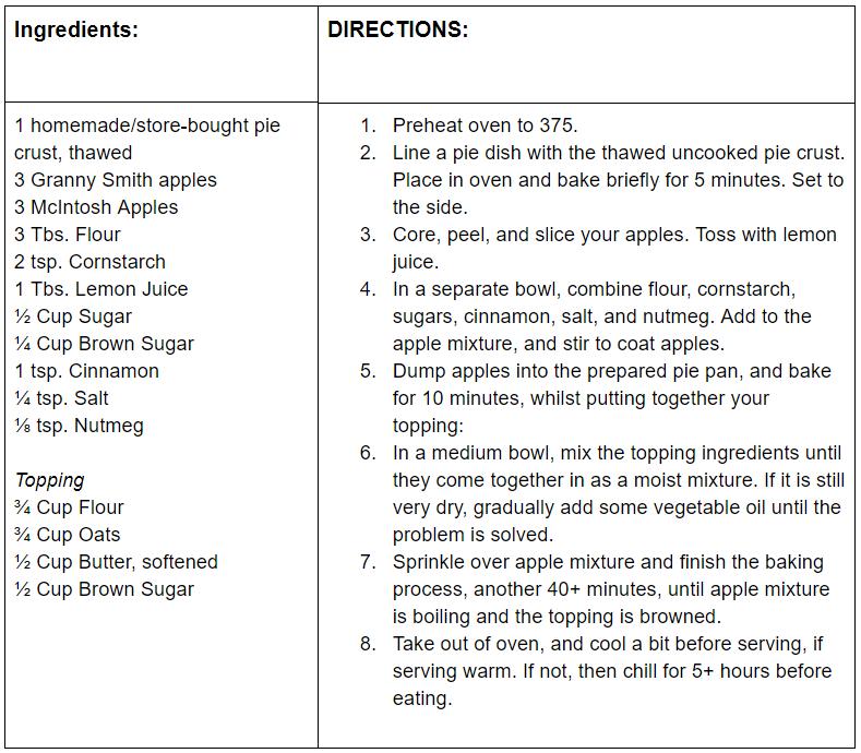 dutch apple pie recipe card picture