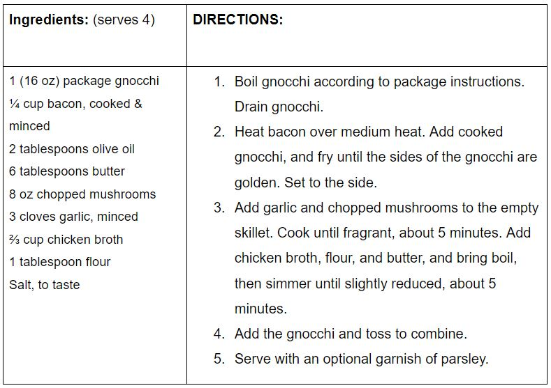 garlic mushroom gnocchi recipe card picture